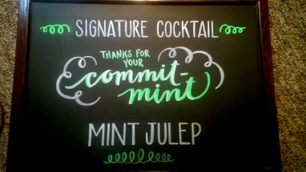 "Signature Cocktail: Thanks for your ""commit-mint,"" Mint Julep."